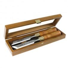 Set of skew chisels in wooden box 26mm
