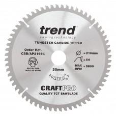 The Craft Pro 216mm diameter 30mm bore 64 tooth aluminium and plastics saw blade for mitre saws